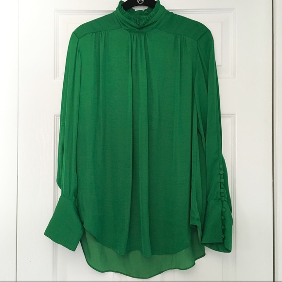 d0a1d54ebf05 Zara Tops | Frill High Neck Long Sleeve Green Blouse | Poshmark